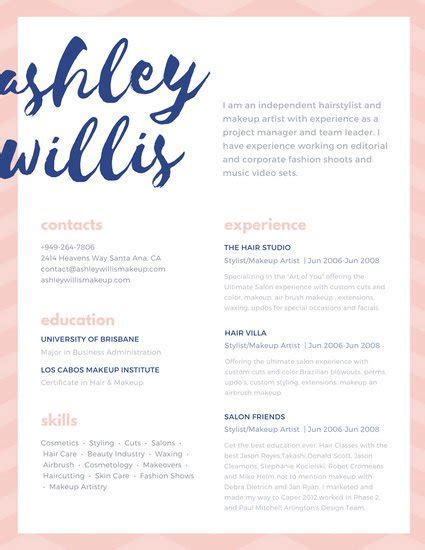 Makeup Artist Resume Template by Pink Blue Script Creative Makeup Artist Resume Templates