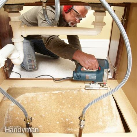 how to replace a sink base cabinet floor the family handyman