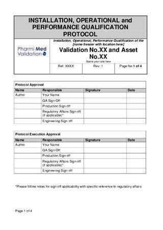 design qualification form iopq freezer validation template sle by pharmi med