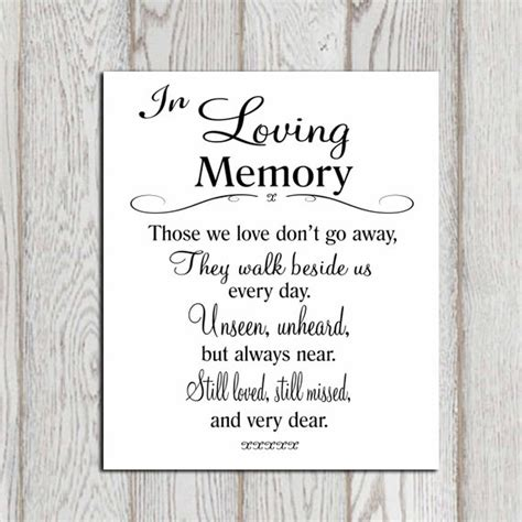 Wedding Memorial Table In Loving Memory Printable Memorial In Loving Memory Template Free