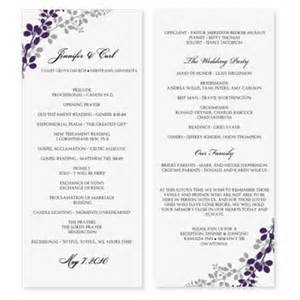 wedding program sle template wedding program template exquisite vines eggplant silver tea length microsoft word