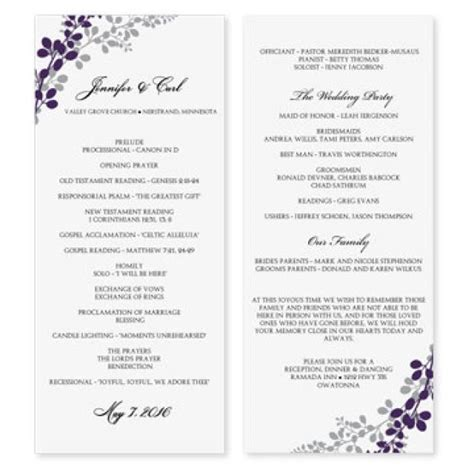 template for wedding programs wedding program template exquisite vines eggplant
