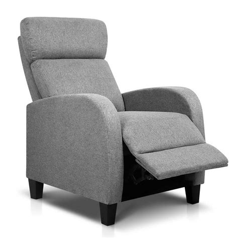 recliner chairs australia buy linen fabric armchair recliner grey online in australia