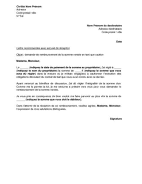 Lettre De Caution Entreprise Exemple Gratuit De Lettre Demande Remboursement Somme D 233 Biteur Cautionn 233
