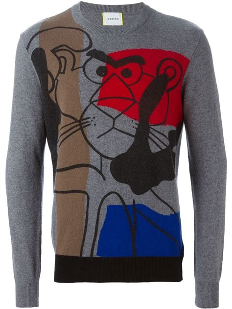lyst iceberg pink panther print sweater in gray for