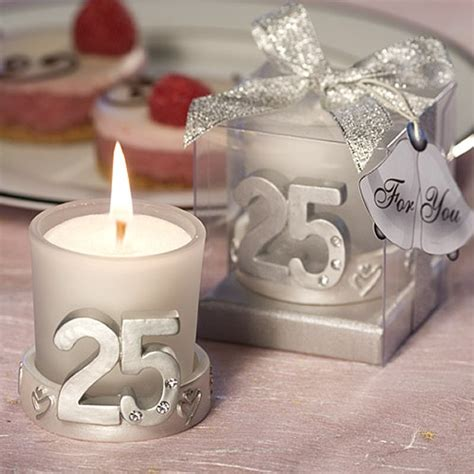 25th anniversary silver candle favors
