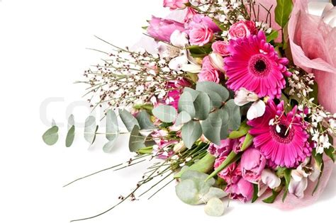 beautiful bouquet florist flower shop florist in beautiful bouquet of flowers isolated on white stock