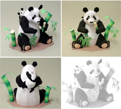 Paper Animal Crafts - animal panda paper model with free printable template