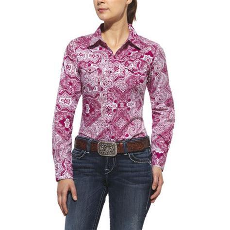 10010774 ariat womens bandana print shirt alpine violet