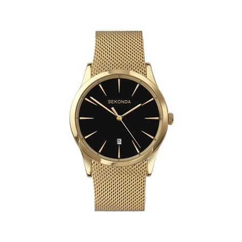 sekonda gents gold plated bracelet black