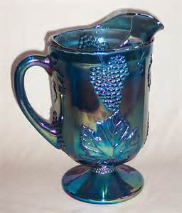 Glass Footed Vase Carnival Glass Blue Harvest Pitcher From Indiana Glass