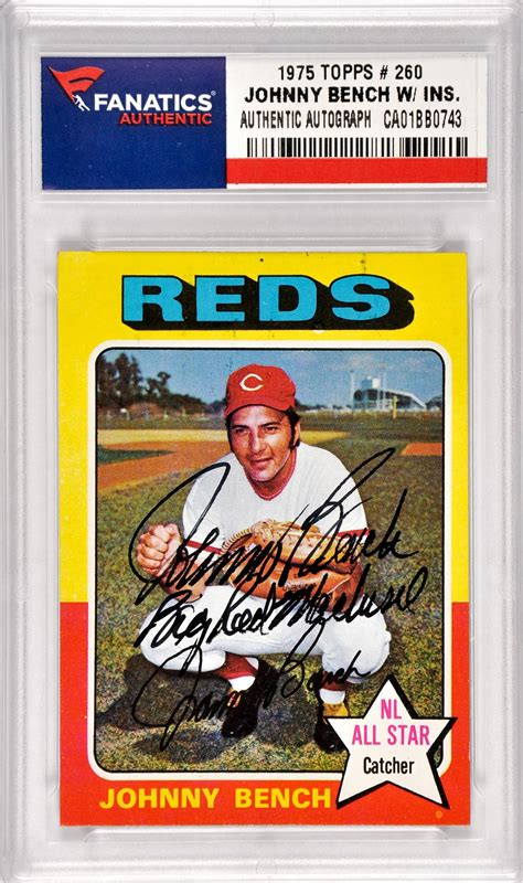 johnny bench cards johnny bench cincinnati reds autographed 1975 topps 260