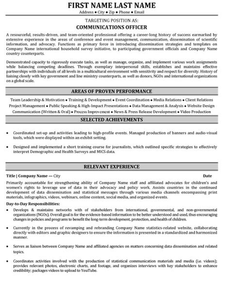 communications resume template communications officer resume sle template
