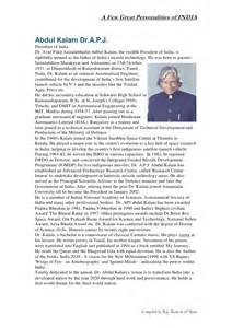 Missile Abdul Kalam Essay by A Few Great Indian Personalities