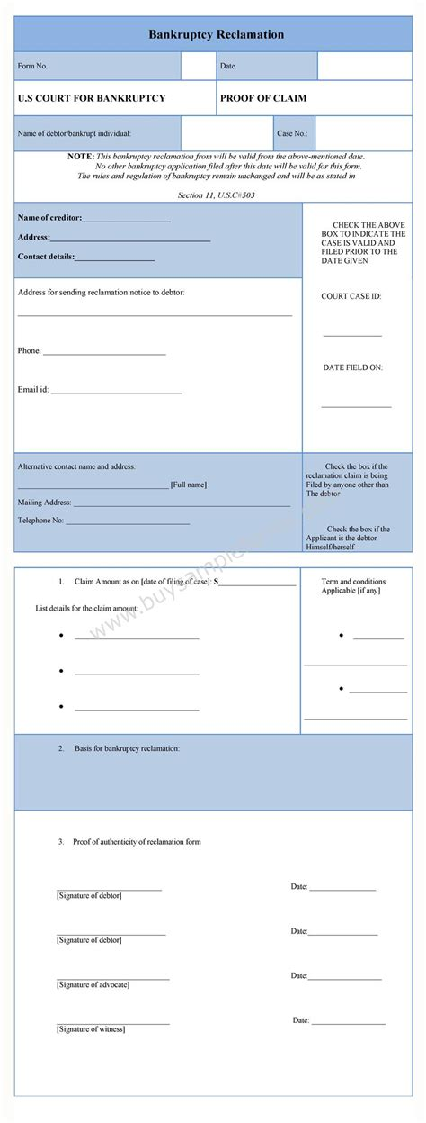 bankruptcy form bankruptcy reclamation form