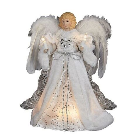 kurt adler angel tree topper kurt adler 10 light white silver tree topper decoration ebay