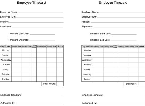 printable job card template free time card template printable employee time card