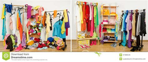 Closet Vs Wardrobe by Wardrobe Before After Tidy Arranged By Colors Stock