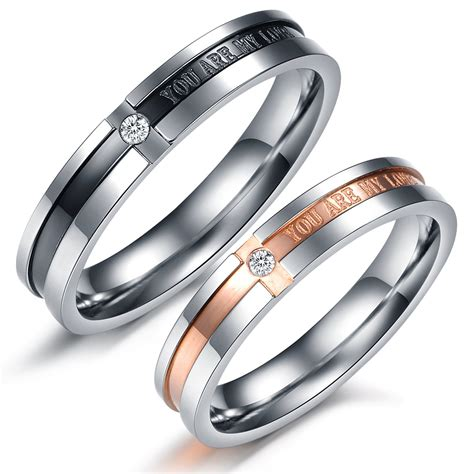 matching titanium steel engagement promise ring
