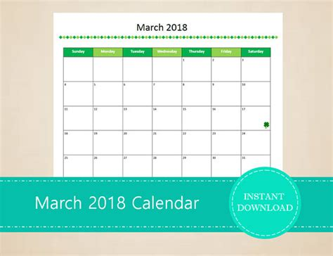 editable calendar template march 2018 free march 2018 calendar editable template