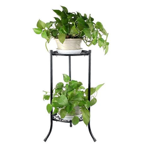 Plant Holder - two layer metal plant stand shelf flower pot rack