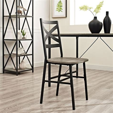 The Dining Room Chair Company Walker Edison Furniture Company Angle Iron X Back Driftwood Metal And Wood Dining Chairs Set Of