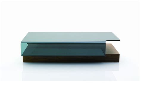 contemporary coffee table with curved glass top in oak