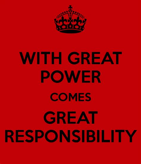 With Great Power with great power comes great responsibility poster