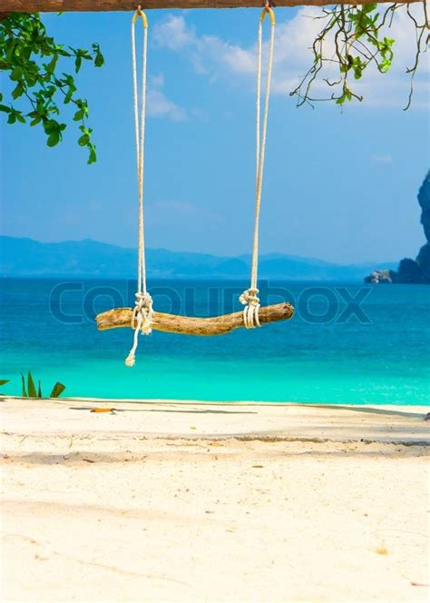 swing by your place seaside swing romantic place stock photo colourbox