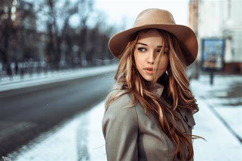 girl with brown hair in snow irina popova full hd wallpaper and background 2048x1367