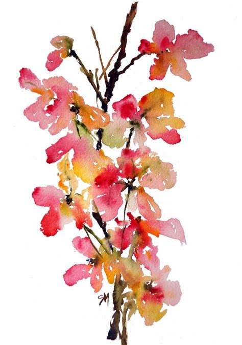 water color flower shower tree petals no 3 watercolor flowers print 8