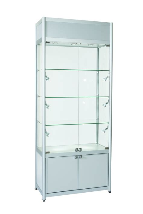 Cupboard Glass - glass display cabinet with storage top advertising section