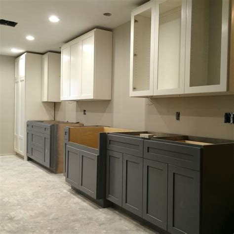 two tone grey kitchen cabinets two tone kitchen sherwin williams alabaster cabinets