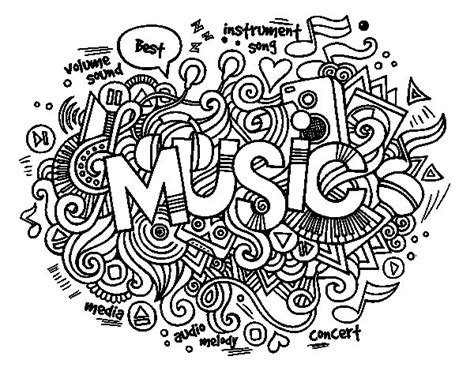 musical collage coloring page coloringcrew com