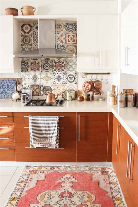 orange backsplash home design in turkey a home layered with prints colors and kilims