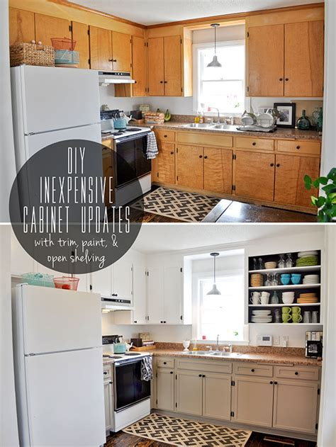 Kitchen Cabinet Diy Inexpensively Update Flat Front Cabinets By Adding Trim Paint And Semi Open Shelving