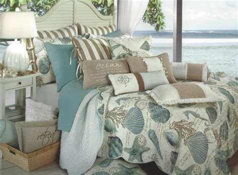 seashell bedding new seashore quilt full queen aqua seashell coastal tropical nautical beach 16