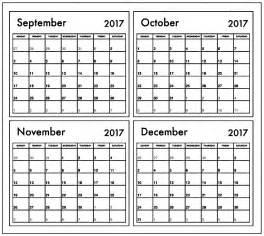 Calendar 2017 September To December October November December 2017 Calendar 3 Months