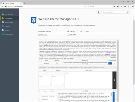 firefox themes manager website theme manager webextension complementos para