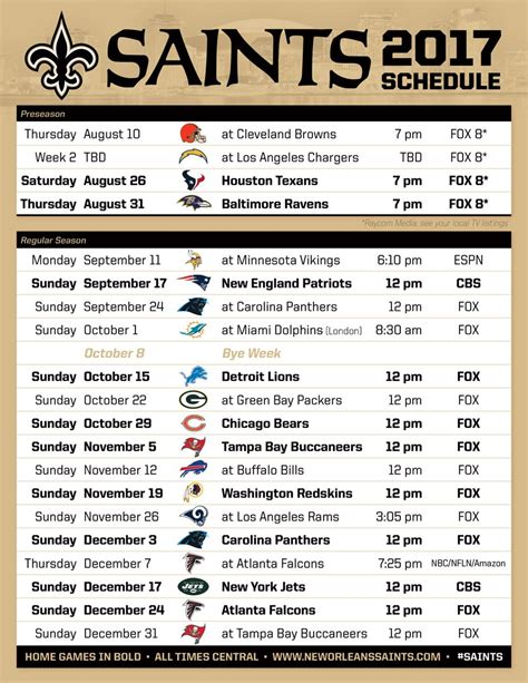 printable saints schedule 2015 new orleans saints season schedule autos post