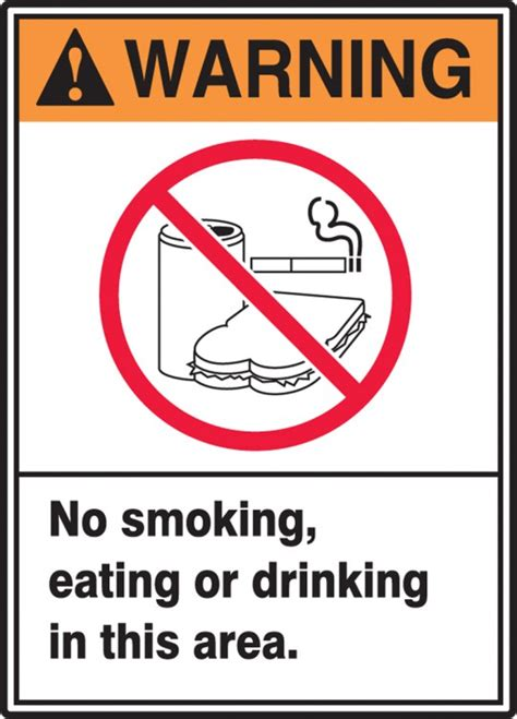 eating and drinking area safety signs signstoyou com no smoking eating drinking in area ansi warning safety