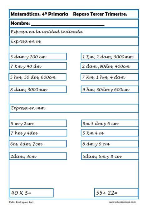 matemticas 3 primaria 8468012866 fichas de matem 225 ticas cuarto primaria