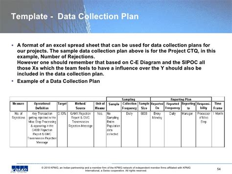 data collection plan template 6 sigma