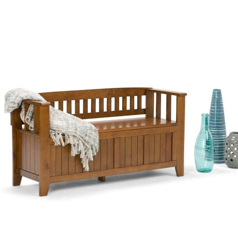 simpli home acadian entryway storage bench simpli home acadian light avalon brown storage bench int