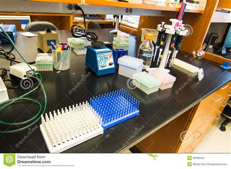 biology lab bench organized laboratory bench in preparation for experiment stock photography image