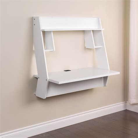 White Studio Wall Mounted Floating Desk From Prepac White Wall Mounted Desk