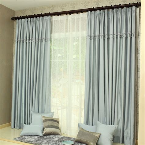 Blue Gray Curtains Bedroom Decortaive Polyester Blue Grey Curtains