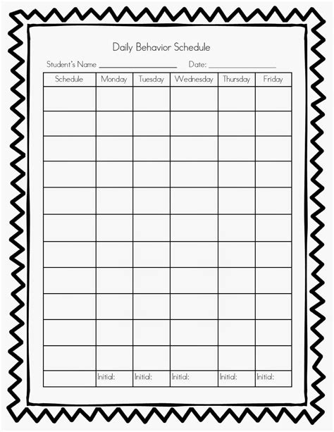 printable blank behavior chart daily search results