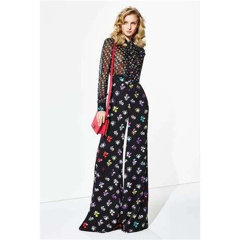 dvf pattern jumpsuit lyst diane von furstenberg arabella jumpsuit in black