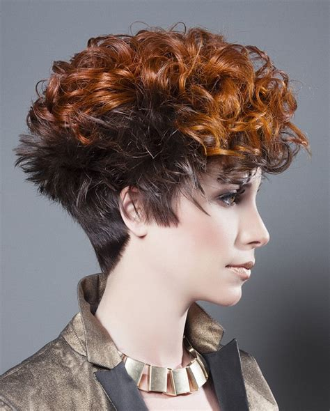 pin curls with a shaved side short red curly coloured multi tonal shaved sides womens